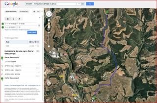 Itinerari- camí d'accés a les Tines del Candela. Captura de pantalla de Google Maps.