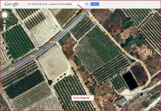 Torre d'Algorfa - Itinerari - Captura de pantalla de Google Maps, complementada amb anotacions manuals.