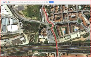 Torre de Cucurull - Itinerari - Captura de pantalla de Google Maps, complementada amb anotacions manuals.