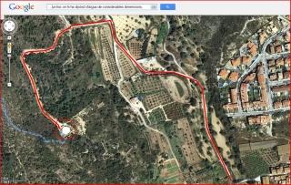 Torre de Cucurull - Itinerari - Captura de pantalla de Google Maps, complementada amb anotacions manuals. En color blau l'inici del camí a peu.