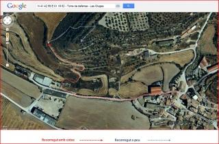 Torre de defensa de les Oluges - Itinerari - Captura de pantalla de Google Maps, complementada amb anotacions manuals.