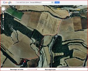 Torre de Ferragut - Itinerari - Captura de pantalla de Google Maps, complementada amb anotacions manuals.