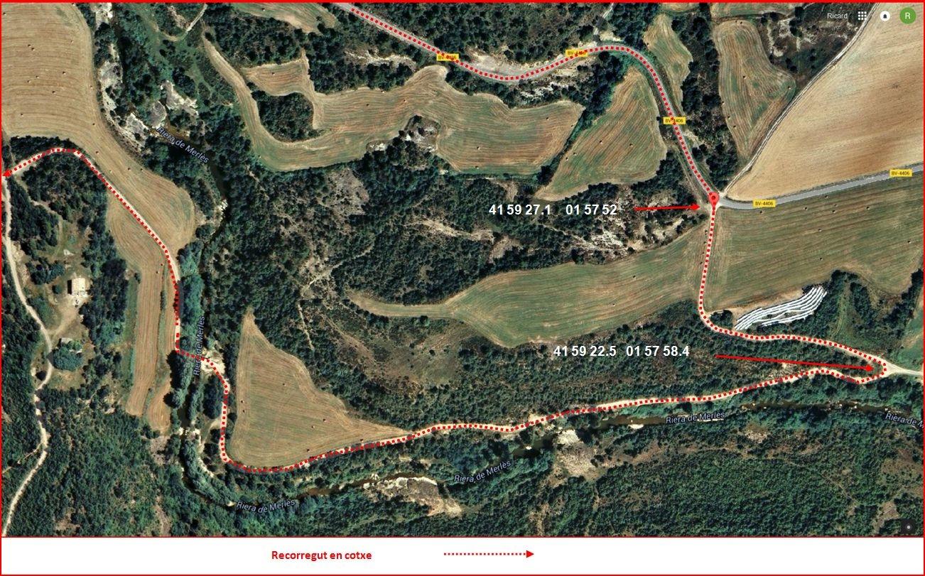 Torre de Ginebret-Mapa inicial de l'itinerari - Captura de pantalla de Google Maps, complementada amb anotacions manuals
