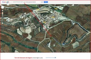 Torre de Granyena - Itinerari - Google Maps, captura de pantalla, complementada amb anotacions manuals.