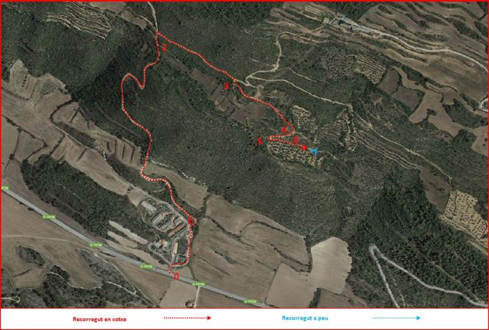 Torre de la Ferreria-Torà-Itinerari-Captura de pantalla de Google Maps, complementada amb anotacions manuals