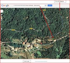 Torre de l'Esparra - Itinerari alternatiu - Captura de pantalla de Google Maps, complementada amb anotacions manuals.