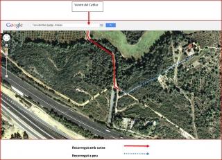 Torre de Mas Sorder - captura de pantalla de Google Maps, complementada amb anotacions manuals.