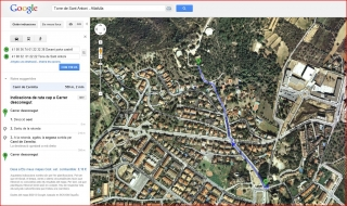 Torre de Sant Antoni - Captura de pantalla de Google Maps, complementada amb anotacions manuals.
