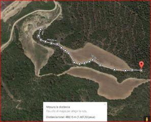 Torre de Telegrafia Òptica – Clariana de Cardener - Detall part final de l\'itinerari - Captura de pantalla de Google Maps, complementada amb anotacions manuals