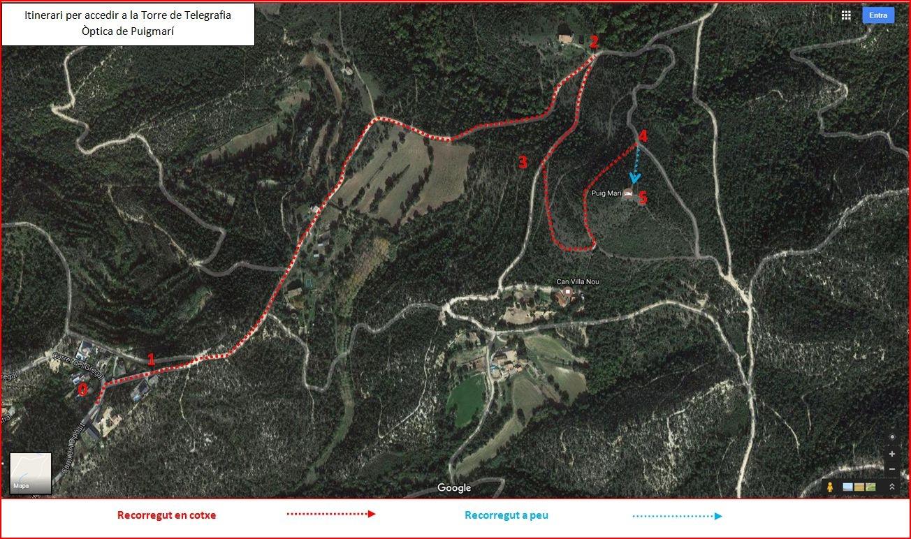 Torre de Telegrafia Òptica de Puigmarí – Maçanet de la Selva - Itinerari - Captura de pantalla de Google Maps, complementada amb anotacions manuals