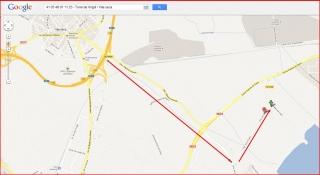 Torre de Virgili - Captura de pantalla de Google Maps, complementada amb anotacions manuals.