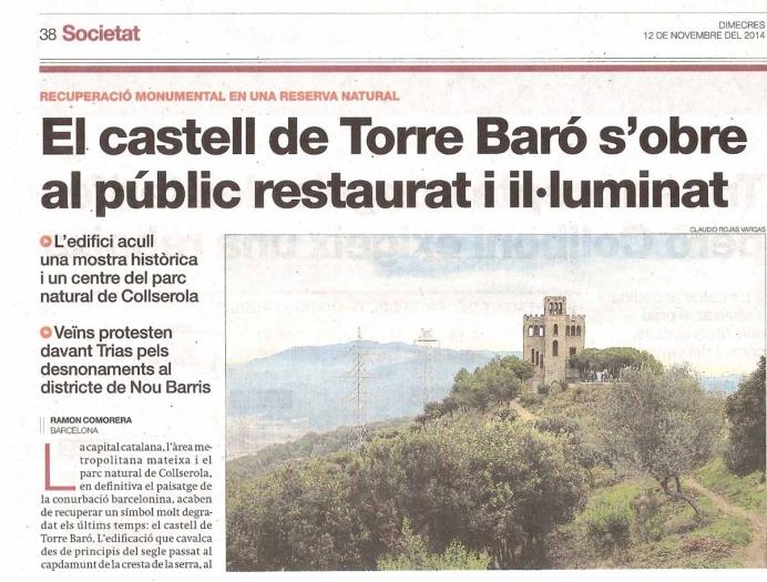 """Torre del Baró - Informació extreta de """"El periódico de Catalunya"""" - edició 12/11/2014"""