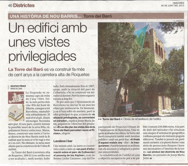 """Torre del Baró - Informació extreta de """"El periódico de Catalunya"""" - edició 26/06/2013."""