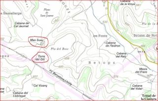 Torre del Gili - Itinerari - Captura de pantalla del mapa del I.C. de Catalunya, complementada amb anotacions manuals.