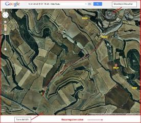 Torre del Gili - Itinerari - Captura de pantalla de Google Maps, complementada amb anotacions manuals.