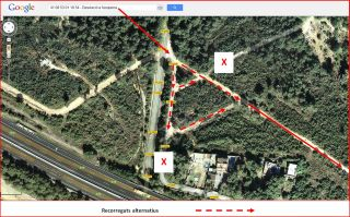 Torre del Mas Cusidor - Captura de pantalla de Google Maps, complementada amb anotacions manuals.