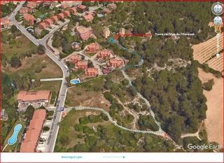 Mapa de l\'itinerari, a peu, del camí per anar a la Torre del Mas de l'Hereuet – Tarragona - Captura de pantalla de Google Maps, complementada amb anotacions manuals