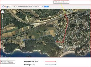 Torre del Mas d'en Grimau - Captura de pantalla de Google Maps, complementada amb anotacions manuals.