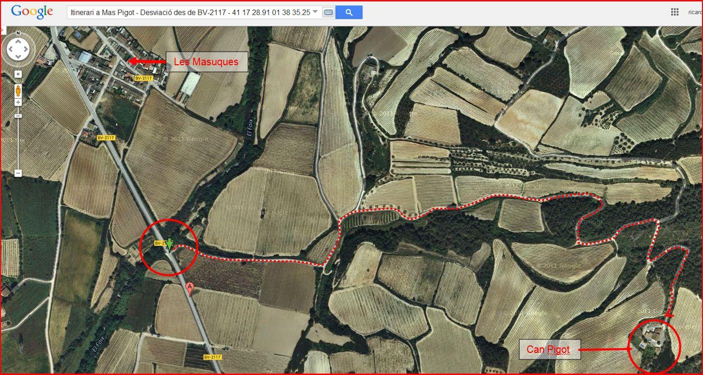 Torre del Mas Pigot – Castellet i La Gornal - Itinerari - Captura de pantalla de Google Maps, complementada amb anotacions manuals.