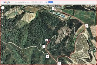 Torre del telègraf de Can Dolcet - Itinerari - Captura de pantalla de Google Maps, complementada amb anotacions manuals.