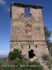 Torre del Telègraf de l'Ordal - Forat al talús de llevant que actualment permet l'entrada a la torre.