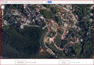 Torre del telègraf de Montornès del Vallès - Itinerari - Captura de pantalla de Google Maps, complementada amb anotacions manuals.