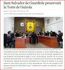 Torre del Telègraf – La Guíxola – fotografia d'un ple de l'Ajuntament de Sant Salvador de Guardiola, celebrat l'any 2012, on s'aprova sol·licitar la declaració de BIL, rehabilitar-la i donar-la a conèixer.