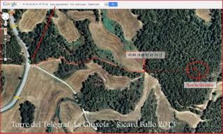 Torre del Telègraf – La Guíxola – Sant Salvador de Guardiola-ITINERARI-Captura de pantalla de Google Maps, complementada amb anotacions manuals.