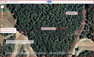 Torre del Telègraf – La Guíxola – Sant Salvador de Guardiola-Part final de l'ITINERARI-Captura de pantalla de Google Maps, complementada amb anotacions manuals.
