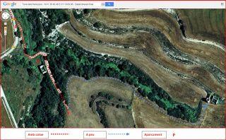 Torre dels francesos - Itinerari final - Captura de pantalla de Google Maps, complementada amb anotacions manuals.