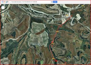 Torre dels francesos - Itinerari - Captura de pantalla de Google Maps, complementada amb anotacions manuals.