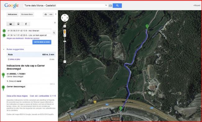 Camí a la Torre dels Moros – Castellolí - Captura de pantalla de Google Maps, complementada amb anotacions manuals.