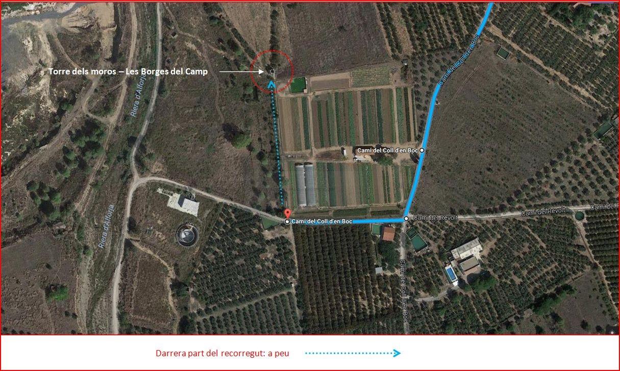 Torre dels moros-Borges del Camp - Itinerari - Captura de pantalla de Google Maps, complementada amb anotacions manuals