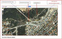 Calafell-Rotonda inici camí a la Torre la Talaia de Calafell - Captura de pantalla de Google Maps.