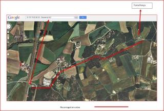 Torre Ponça - Itinerari - Captura de pantalla de Google Maps, amb anotacions manuals.