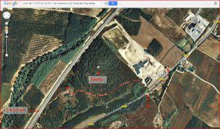 Torres de Puig Ardina – Riudarenes - Detall part inicial de l'itinerari - Captura de pantalla de Google Maps, complementada amb anotacions manuals.