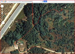 Torres de Puig Ardina – Riudarenes - Detall part final de l'itinerari - Captura de pantalla de Google Maps, complementada amb anotacions manuals.