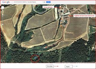 Torrota d'en Pasteres – Subirats - Itinerari - Captura de pantalla de Google Maps, complementada amb anotacions manuals.