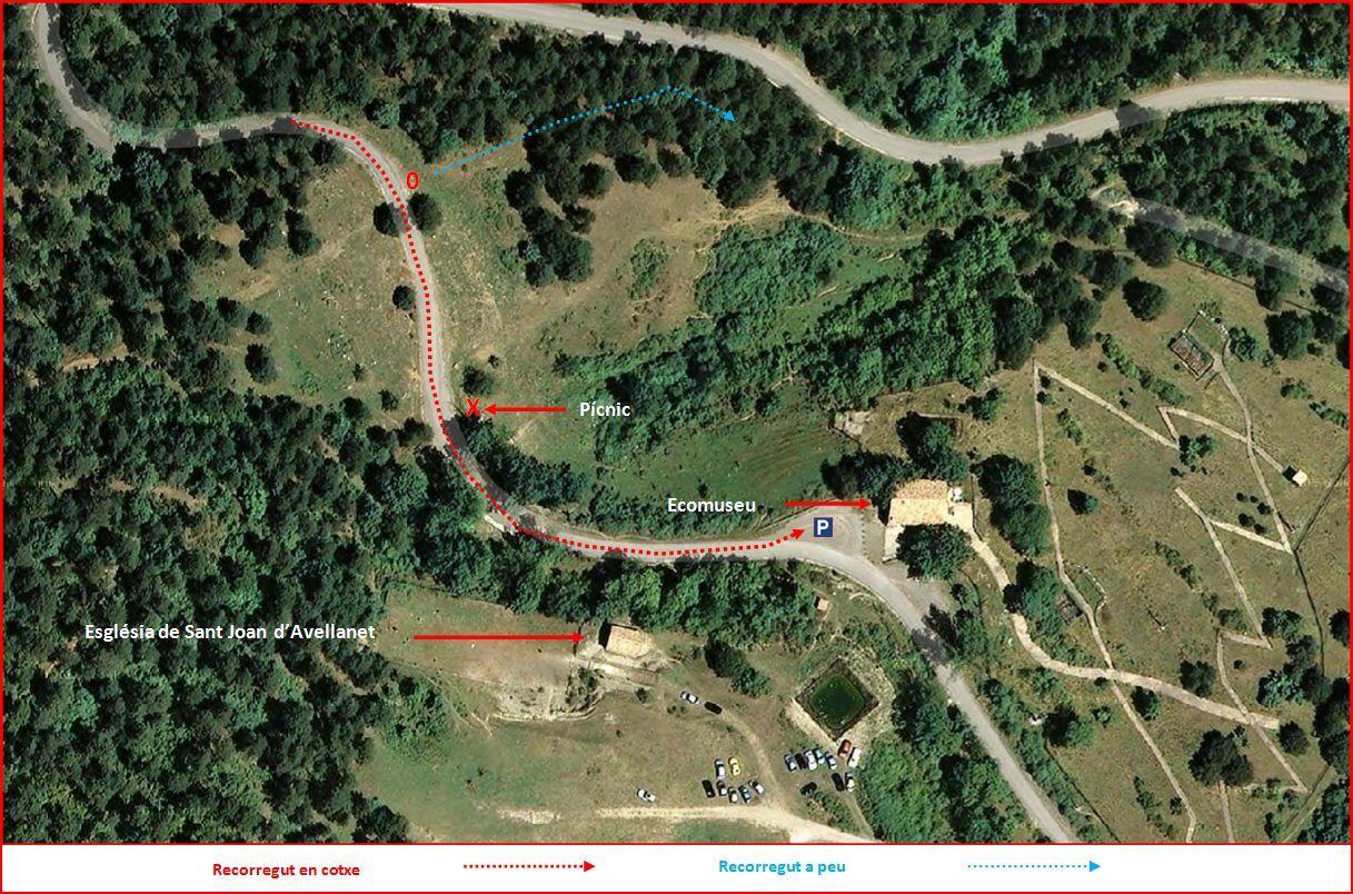 Via del Nicolau – Bagà - ITINERARI - Captura de pantalla de Google Maps, complementada amb anotacions manuals